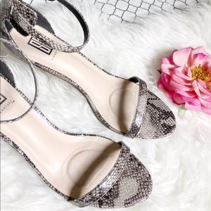 Snake Print Strappy Sandals